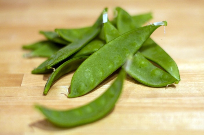 A small handful of snow peas, with more to come