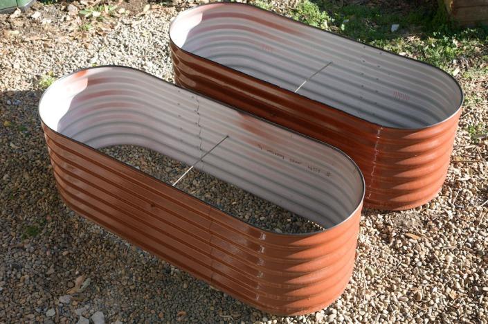 Two new corrugated raised garden beds Lewisham House