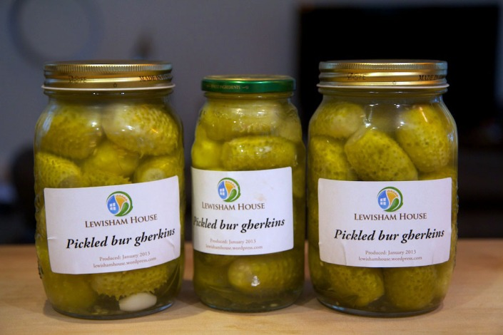Three jars of pickled bur gherkins