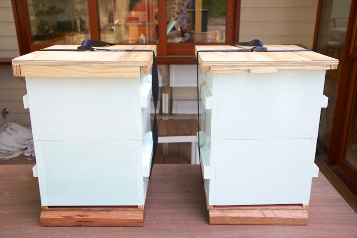 Two home-made bait hives, ready for placement in spring.