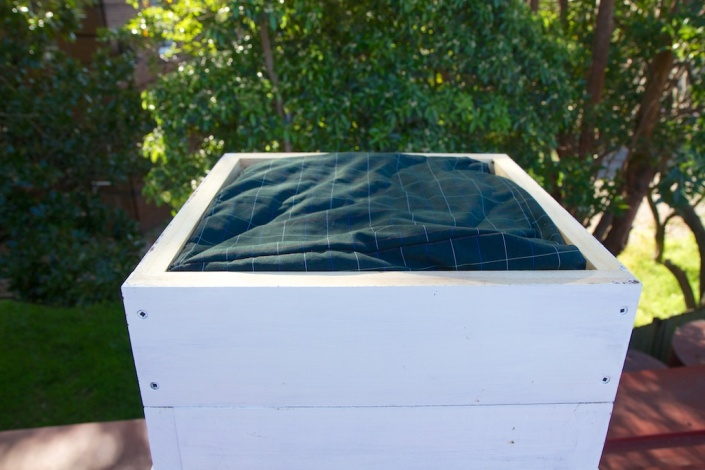 The quilt box in place on the top of the hive.