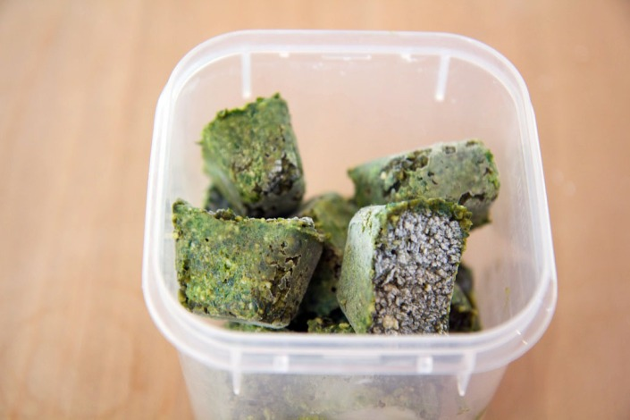 The pesto cubes, ready for long-term storage.