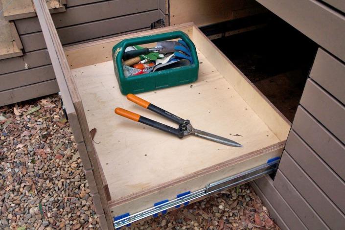 Plenty of space for bulky garden tools.