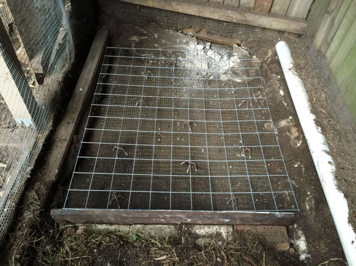 Wire mesh in place as reinforcing for the concrete slab.
