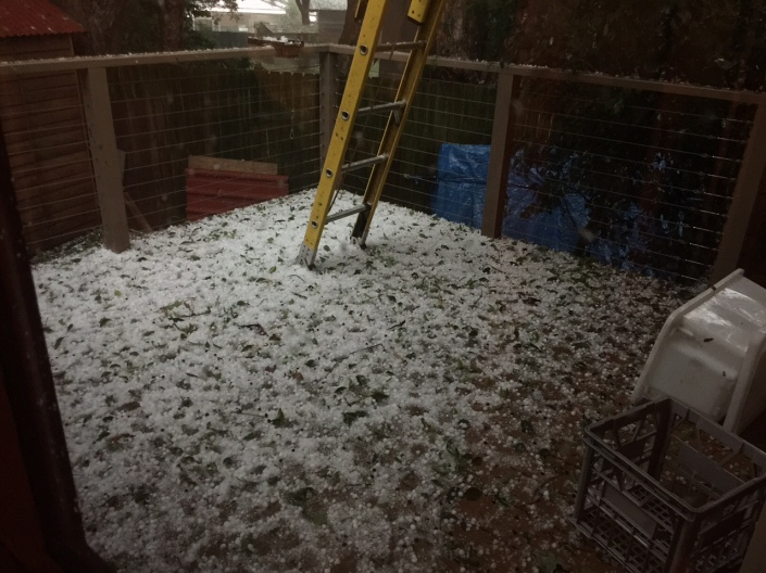 Hail covering our back deck