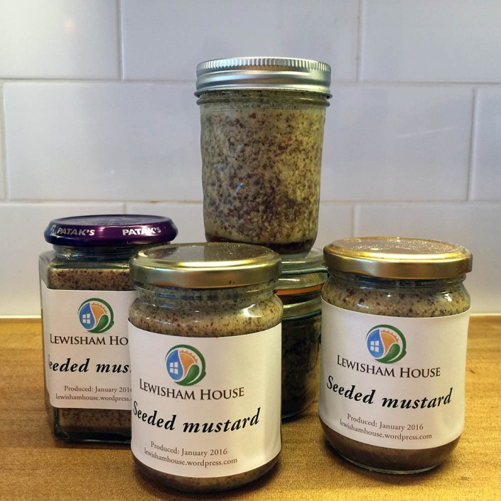 Five jars of home-made seeded mustard