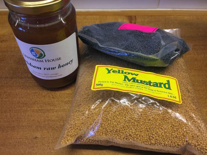 Mustard seeds and honey plus vinegar  = seeded mustard